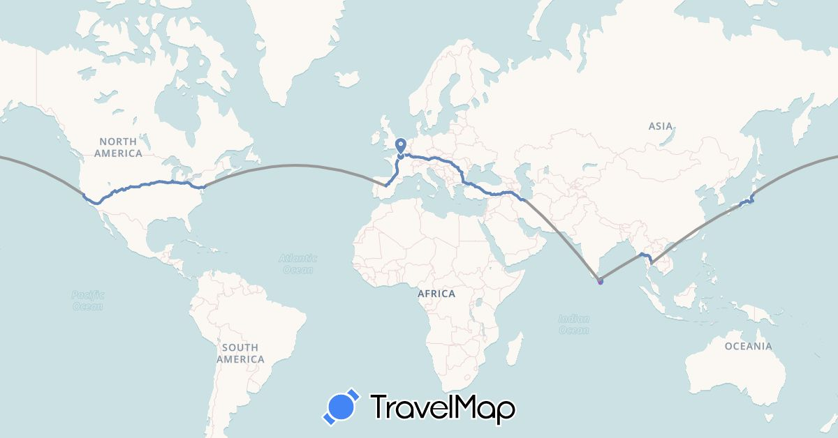 TravelMap itinerary: plane, cycling, train in Austria, Bulgaria, Germany, Spain, France, Hungary, Iran, Japan, Sri Lanka, Myanmar (Burma), Romania, Slovakia, Thailand, Turkey, United States (Asia, Europe, North America)